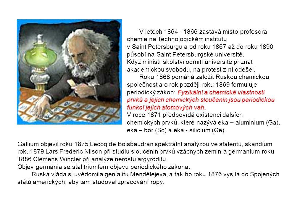 V letech 1864 - 1866 zastává místo profesora chemie na Technologickém institutu v Saint Petersburgu a od roku 1867 až do roku 1890 působí na Saint Pet