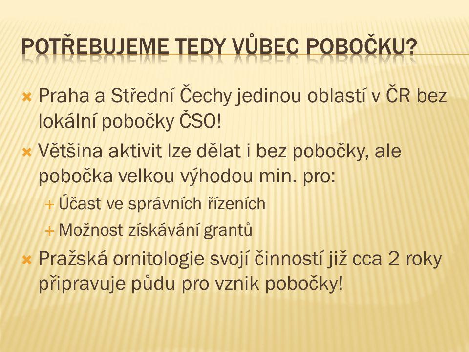  Praha a Střední Čechy jedinou oblastí v ČR bez lokální pobočky ČSO!  Většina aktivit lze dělat i bez pobočky, ale pobočka velkou výhodou min. pro: