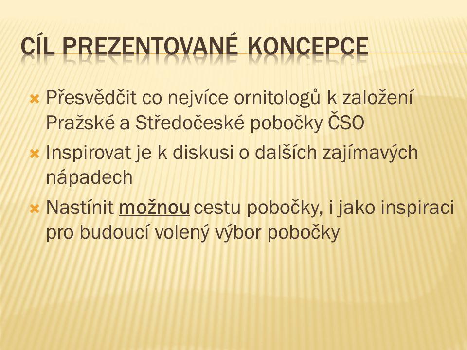  Přesvědčit co nejvíce ornitologů k založení Pražské a Středočeské pobočky ČSO  Inspirovat je k diskusi o dalších zajímavých nápadech  Nastínit mož