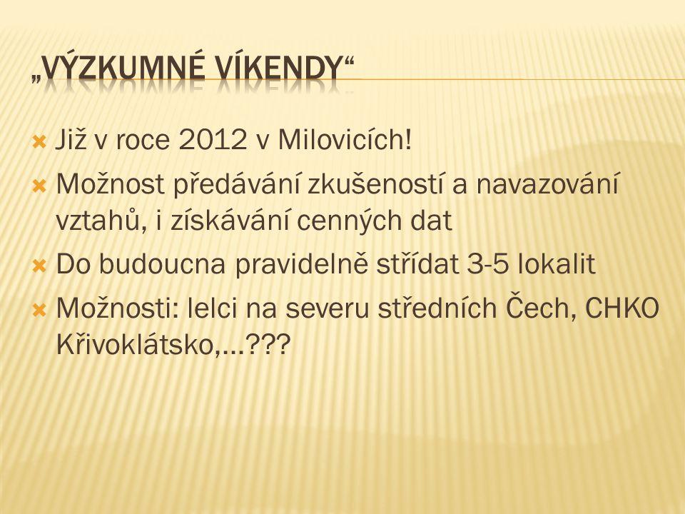  Již v roce 2012 v Milovicích!  Možnost předávání zkušeností a navazování vztahů, i získávání cenných dat  Do budoucna pravidelně střídat 3-5 lokal