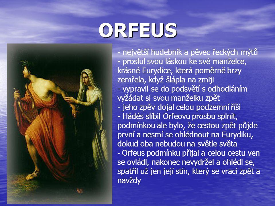 ORESTES - k- král Agamemnón se vrátil do vlasti, kde ho manželka vítala, pak ho ale spolu s jeho příbuzným Aigisthem ubila - Aigistha si vzala za muže - s Agamemnónem měla 2 dcery a syna - dcera Elektra dala svého bratra Oresta na vychování k příbuznému králi a čekala, že je jednou se sestrou vysvobodí - po letech se Elektra šťastně setkala s bratrem, který se vrhl s mečem v ruce do paláce a zabil matku i Aigistha - za to ho pronásledovaly bohyně Erinye a zpívaly mu hrozné písně o vraždě matky - nakonec se trýzně zbavil a stal se mykénským králem