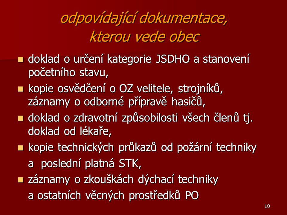 10 odpovídající dokumentace, kterou vede obec doklad o určení kategorie JSDHO a stanovení početního stavu, doklad o určení kategorie JSDHO a stanovení