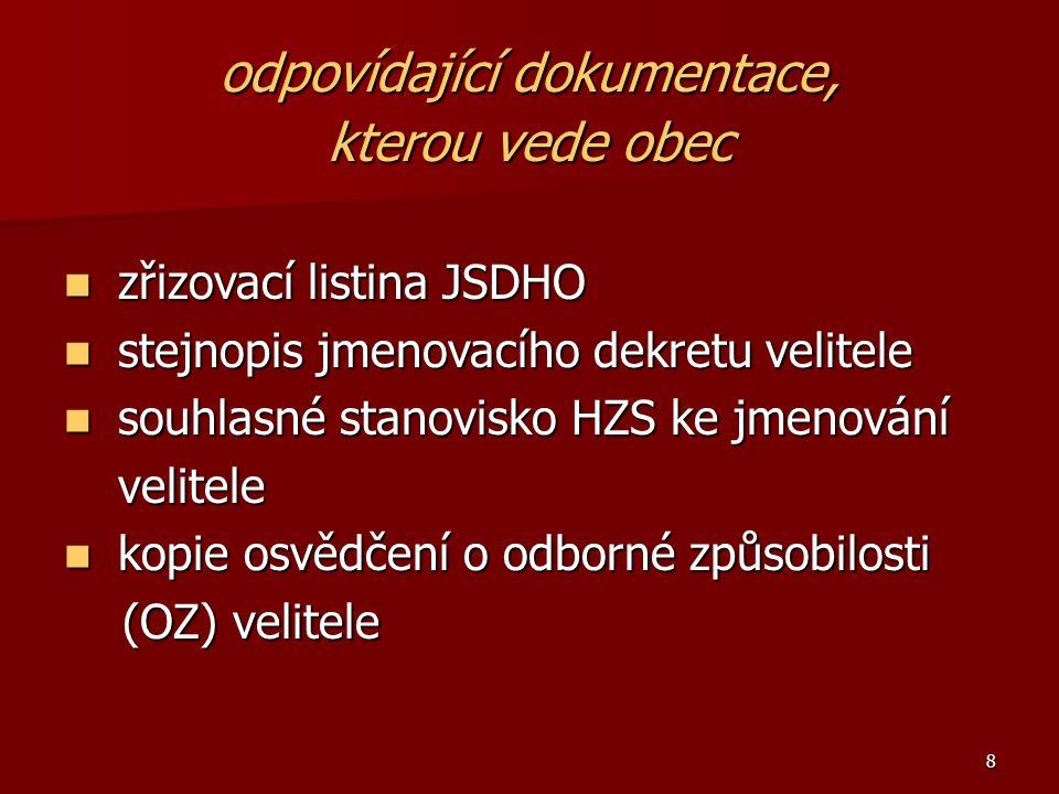 8 odpovídající dokumentace, kterou vede obec zřizovací listina JSDHO zřizovací listina JSDHO stejnopis jmenovacího dekretu velitele stejnopis jmenovac