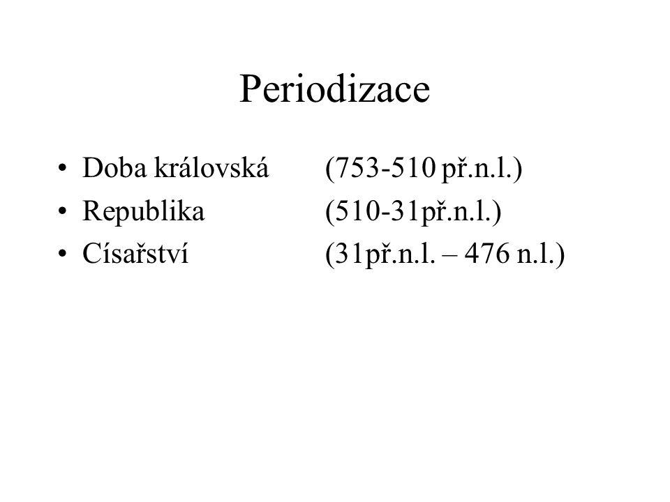 Periodizace Doba královská(753-510 př.n.l.) Republika(510-31př.n.l.) Císařství(31př.n.l. – 476 n.l.)