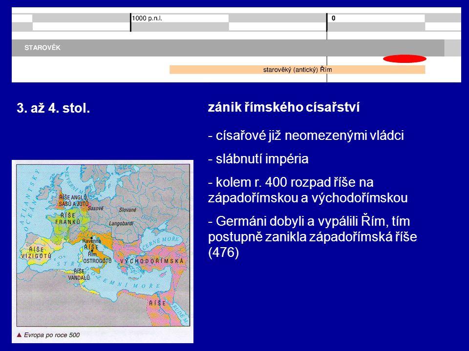 3. až 4. stol. zánik římského císařství - císařové již neomezenými vládci - slábnutí impéria - kolem r. 400 rozpad říše na západořímskou a východoříms