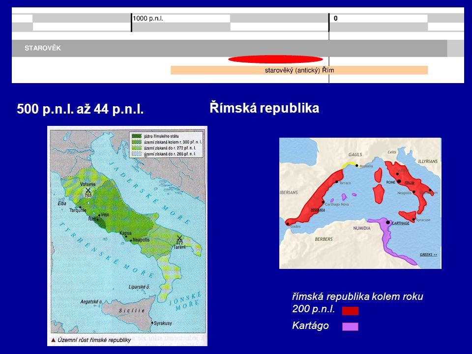 500 p.n.l. až 44 p.n.l. Římská republika římská republika kolem roku 200 p.n.l. Kartágo