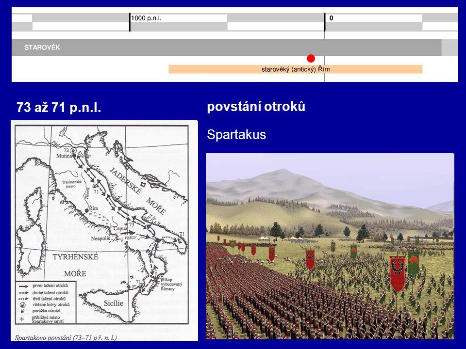 73 až 71 p.n.l. povstání otroků Spartakus