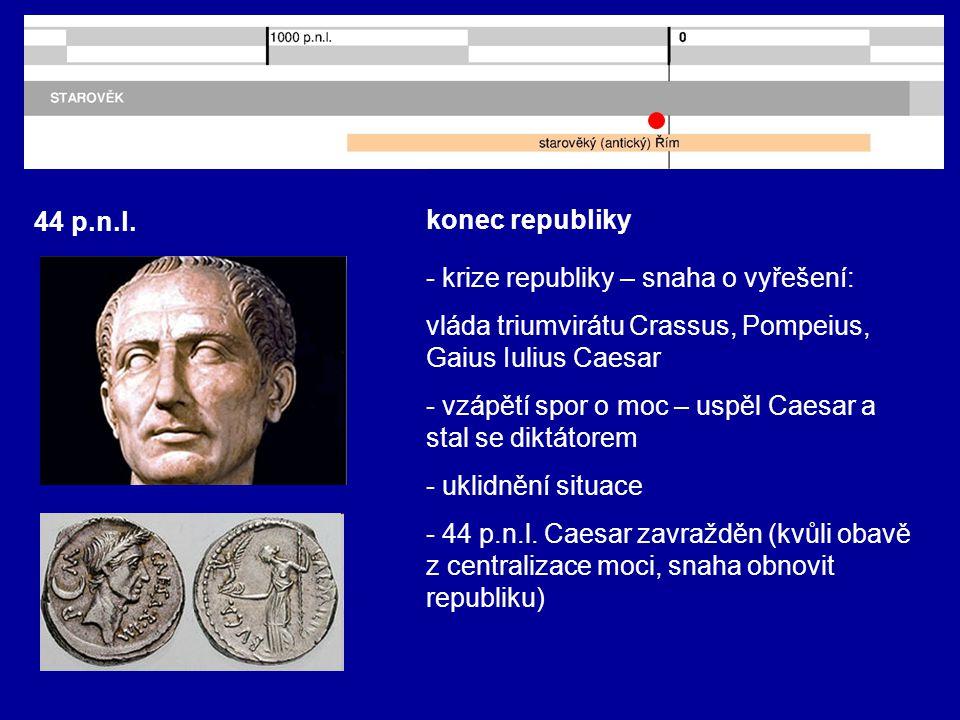 44 p.n.l. konec republiky - krize republiky – snaha o vyřešení: vláda triumvirátu Crassus, Pompeius, Gaius Iulius Caesar - vzápětí spor o moc – uspěl
