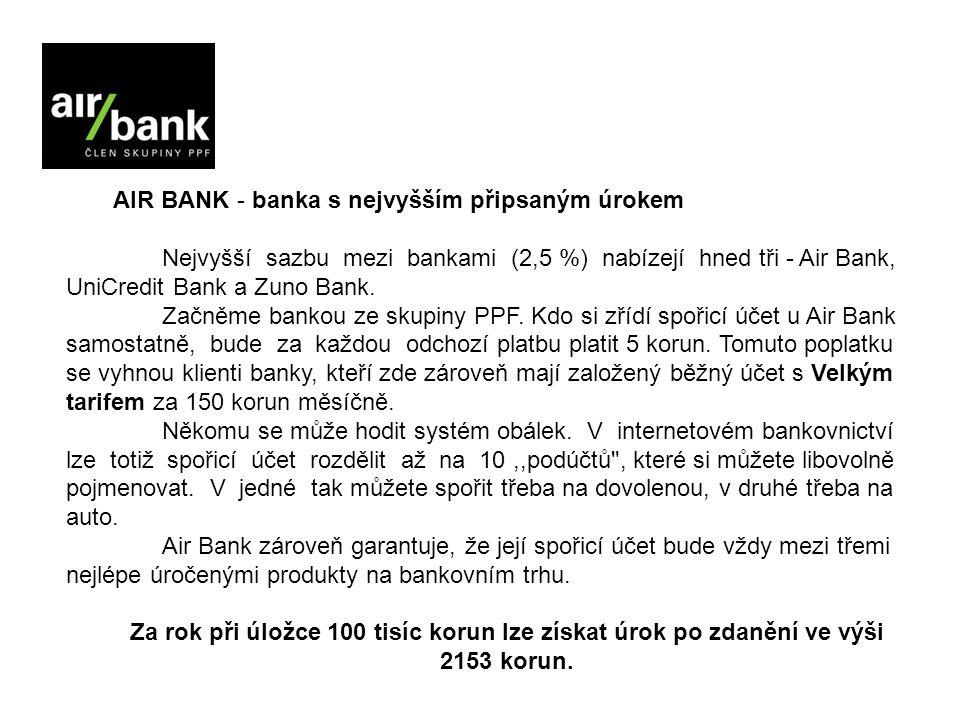 AIR BANK - banka s nejvyšším připsaným úrokem Nejvyšší sazbu mezi bankami (2,5 %) nabízejí hned tři - Air Bank, UniCredit Bank a Zuno Bank.