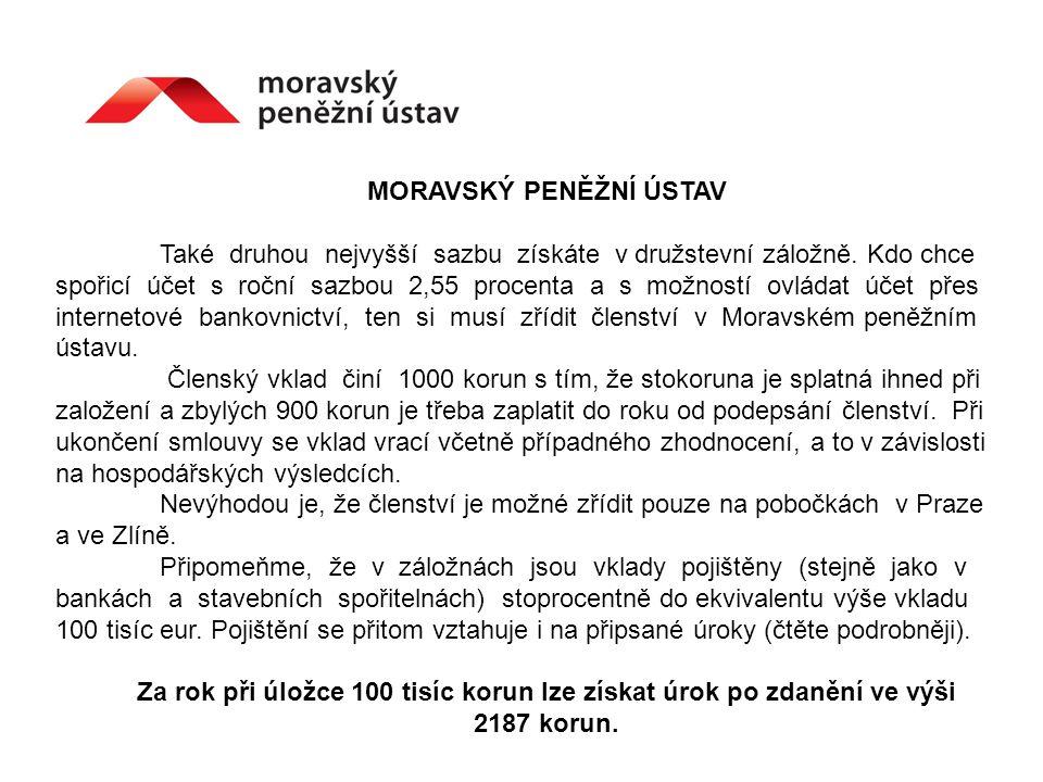 MORAVSKÝ PENĚŽNÍ ÚSTAV Také druhou nejvyšší sazbu získáte v družstevní záložně.