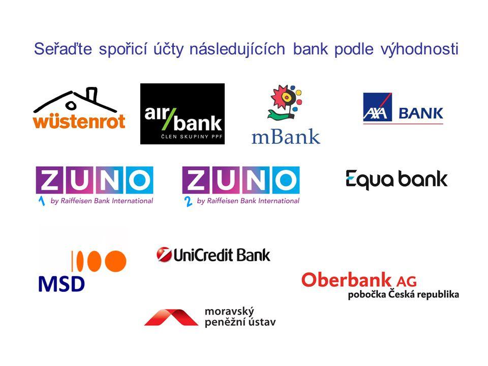 Seřaďte spořicí účty následujících bank podle výhodnosti 1 2