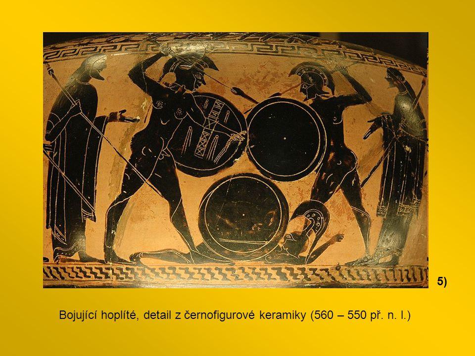 5) Bojující hoplíté, detail z černofigurové keramiky (560 – 550 př. n. l.)