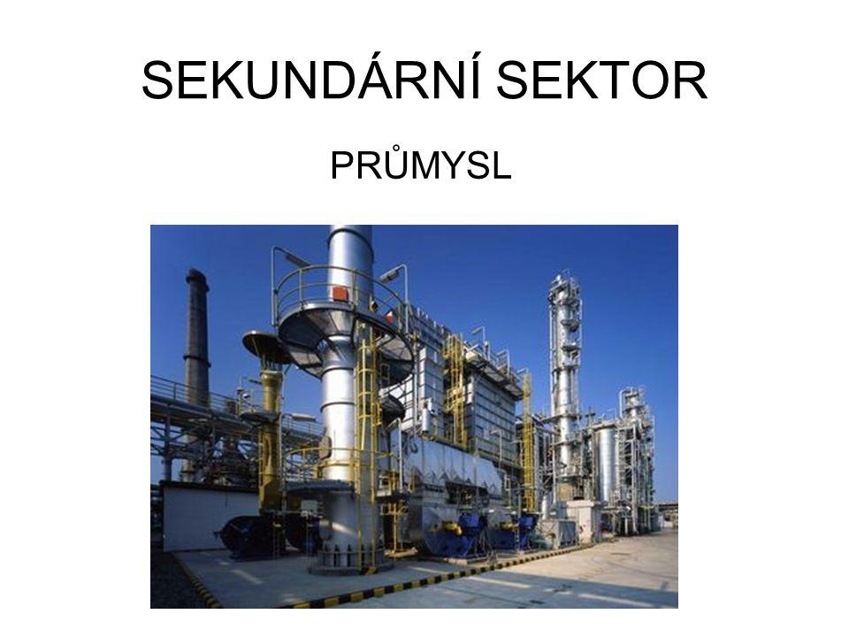 PRŮMYSLOVÁ VÝROBA Průmysl má největší podíl z hospodářské produkce člověka, zaměstnává velký počet lidí.