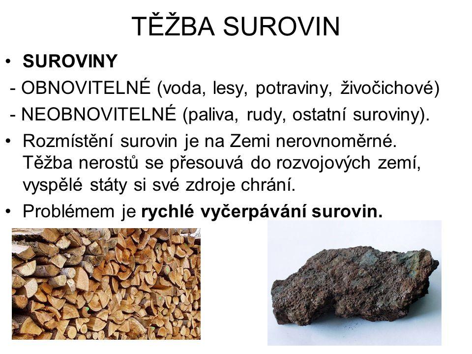 TĚŽBA SUROVIN SUROVINY - OBNOVITELNÉ (voda, lesy, potraviny, živočichové) - NEOBNOVITELNÉ (paliva, rudy, ostatní suroviny). Rozmístění surovin je na Z