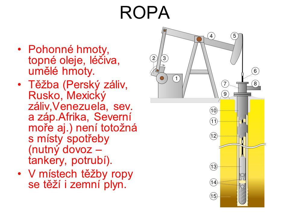 ROPA Pohonné hmoty, topné oleje, léčiva, umělé hmoty. Těžba (Perský záliv, Rusko, Mexický záliv,Venezuela, sev. a záp.Afrika, Severní moře aj.) není t