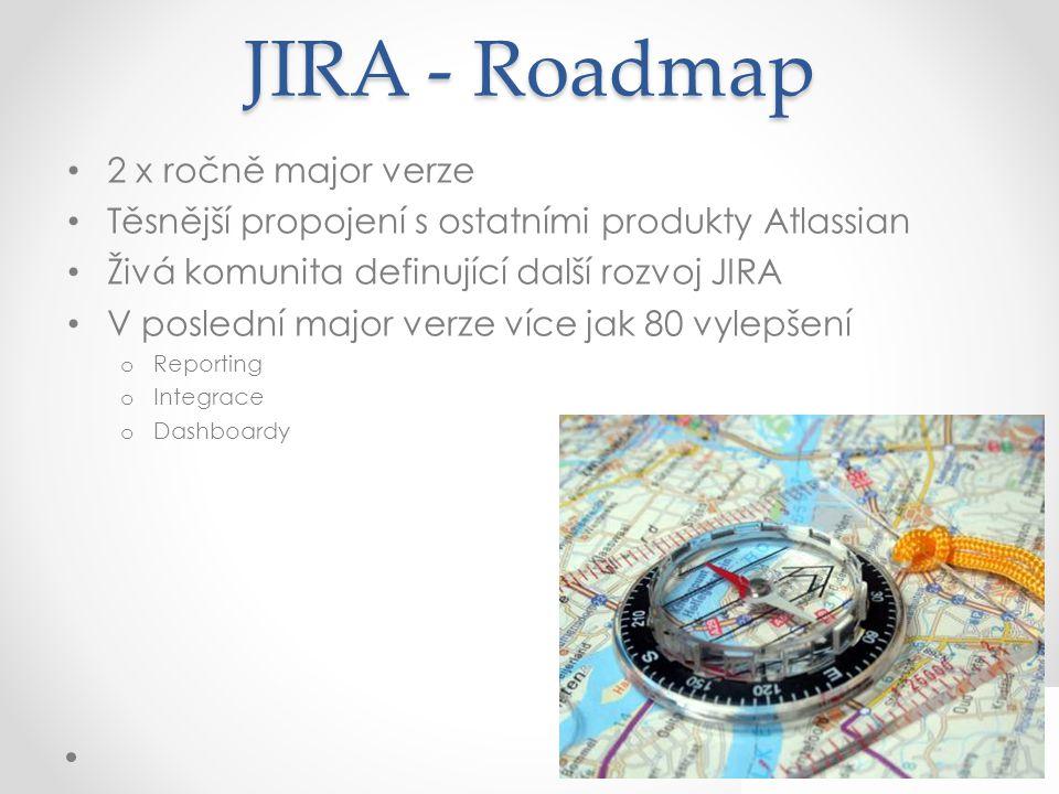JIRA - Roadmap 2 x ročně major verze Těsnější propojení s ostatními produkty Atlassian Živá komunita definující další rozvoj JIRA V poslední major verze více jak 80 vylepšení o Reporting o Integrace o Dashboardy