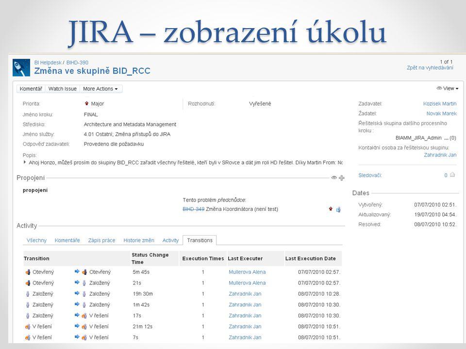 JIRA – reporty Filtry přes požadavky o Definice emailových odběratelů Grafy, diagramy, grafické prvky Konfigurace uživatelem Generování do XLS Definice vlastních reportů v JIRA