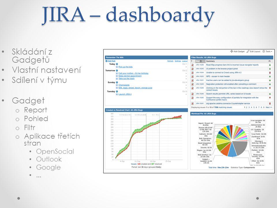 JIRA - Administrace Pomocí webového rozhraní lze administrovat: Workflow o Definice stavů a přechodů Uživatelské role a skupiny Obrazovky a atributy Oprávnění a přístupy Notifikace Dashboardy, filtry
