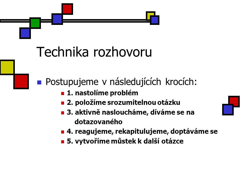 Technika rozhovoru Postupujeme v následujících krocích: 1. nastolíme problém 2. položíme srozumitelnou otázku 3. aktivně nasloucháme, díváme se na dot
