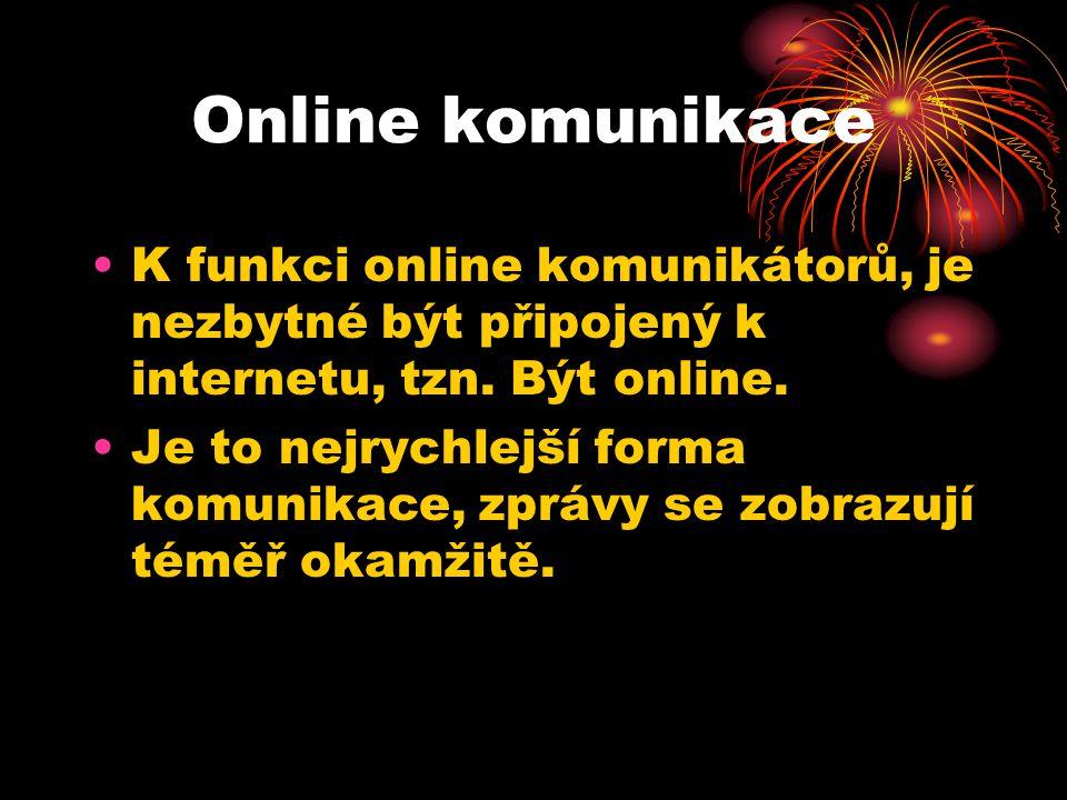 Online komunikace K funkci online komunikátorů, je nezbytné být připojený k internetu, tzn.