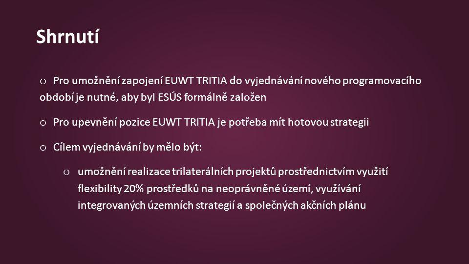 Shrnutí o Pro umožnění zapojení EUWT TRITIA do vyjednávání nového programovacího období je nutné, aby byl ESÚS formálně založen o Pro upevnění pozice EUWT TRITIA je potřeba mít hotovou strategii o Cílem vyjednávání by mělo být: o umožnění realizace trilaterálních projektů prostřednictvím využití flexibility 20% prostředků na neoprávněné území, využívání integrovaných územních strategií a společných akčních plánu