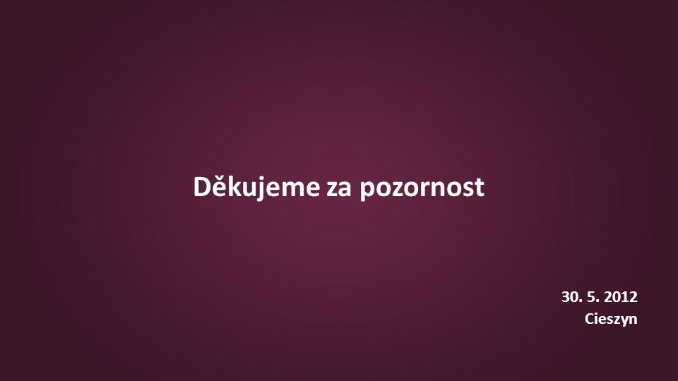 Děkujeme za pozornost 30. 5. 2012 Cieszyn