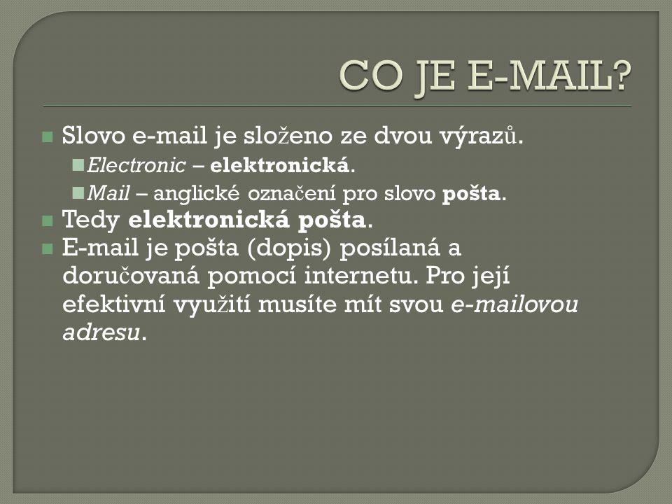 Slovo e-mail je slo ž eno ze dvou výraz ů. Electronic – elektronická.