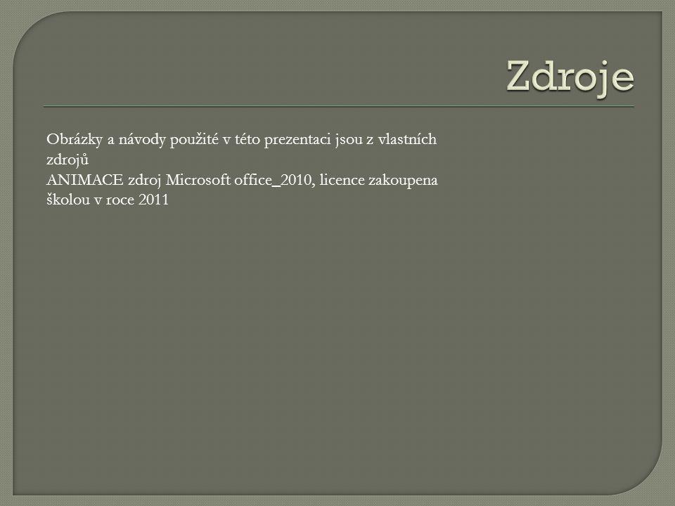 Obrázky a návody použité v této prezentaci jsou z vlastních zdrojů ANIMACE zdroj Microsoft office_2010, licence zakoupena školou v roce 2011