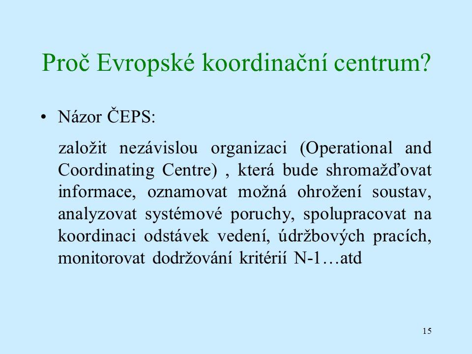 15 Proč Evropské koordinační centrum.