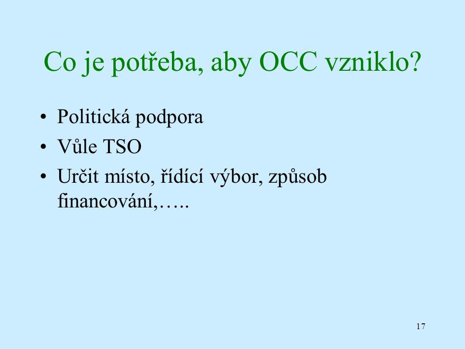 17 Co je potřeba, aby OCC vzniklo.