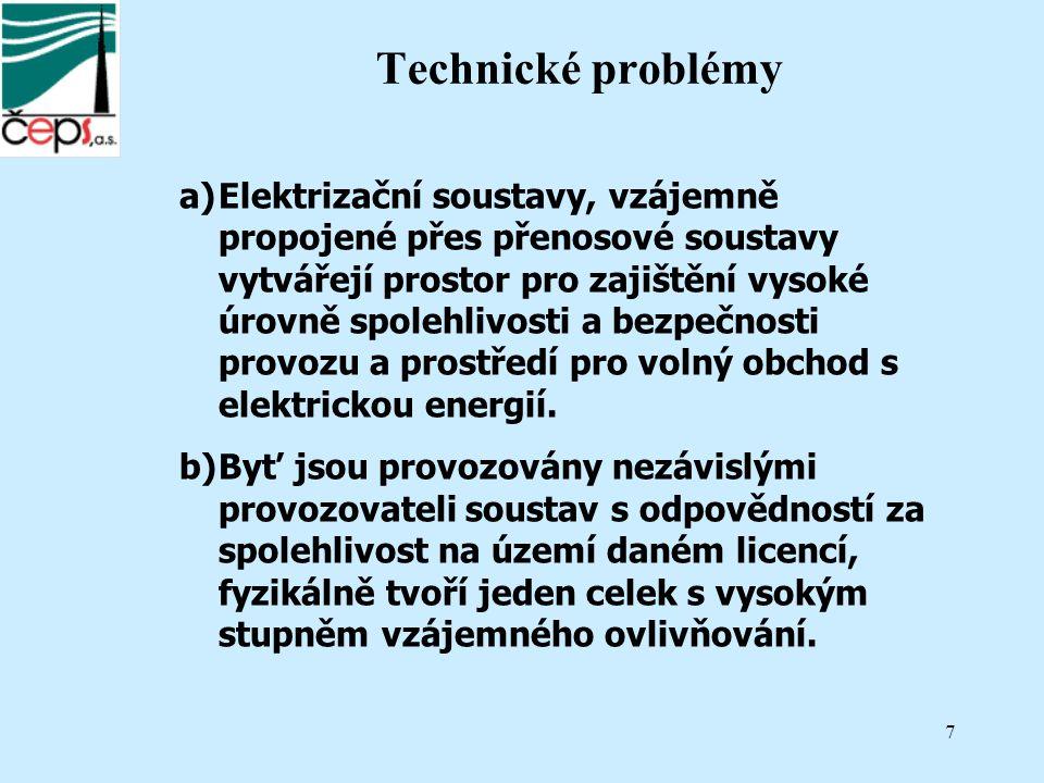 7 Technické problémy a)Elektrizační soustavy, vzájemně propojené přes přenosové soustavy vytvářejí prostor pro zajištění vysoké úrovně spolehlivosti a bezpečnosti provozu a prostředí pro volný obchod s elektrickou energií.