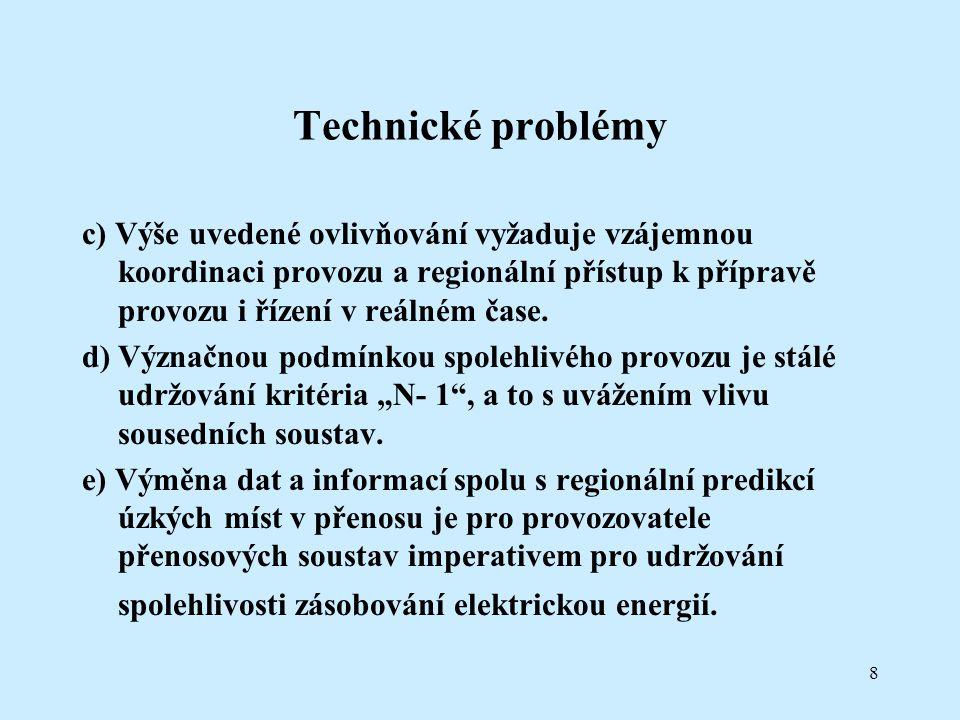 8 Technické problémy c) Výše uvedené ovlivňování vyžaduje vzájemnou koordinaci provozu a regionální přístup k přípravě provozu i řízení v reálném čase.