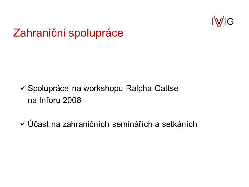 Zahraniční spolupráce Spolupráce na workshopu Ralpha Cattse na Inforu 2008 Účast na zahraničních seminářích a setkáních