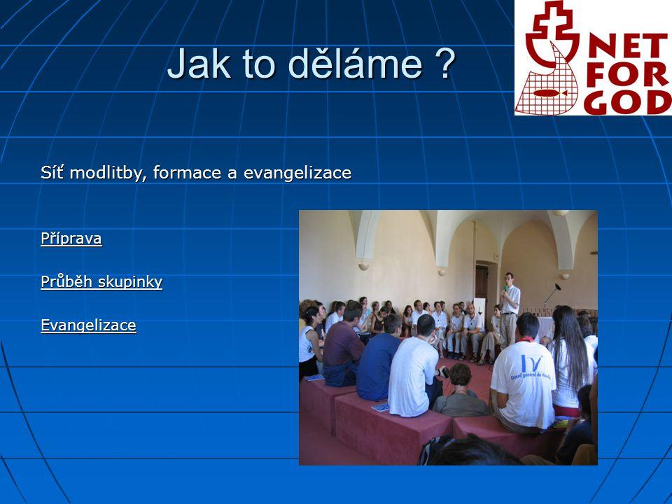 Jak to děláme Síť modlitby, formace a evangelizace Příprava Průběh skupinky Evangelizace