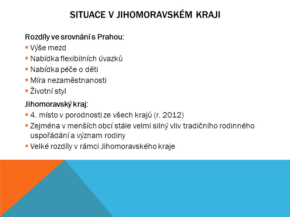 SITUACE V JIHOMORAVSKÉM KRAJI Brno x ostatní okresy a obce v JMK Brno:  Nízká nezaměstnanost  Velké množství absolventů VŠ  Širší nabídka péče  54% dětí se narodilo v okresech Brno-město, Brno-venkov (r.