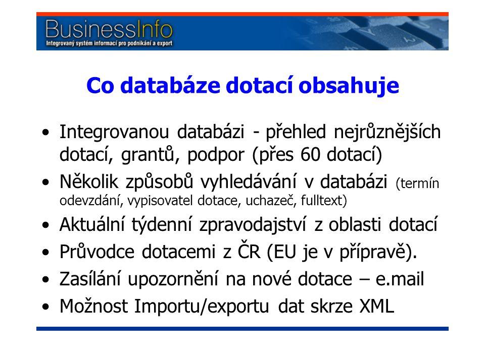 Co databáze dotací obsahuje Integrovanou databázi - přehled nejrůznějších dotací, grantů, podpor (přes 60 dotací) Několik způsobů vyhledávání v databázi (termín odevzdání, vypisovatel dotace, uchazeč, fulltext) Aktuální týdenní zpravodajství z oblasti dotací Průvodce dotacemi z ČR (EU je v přípravě).