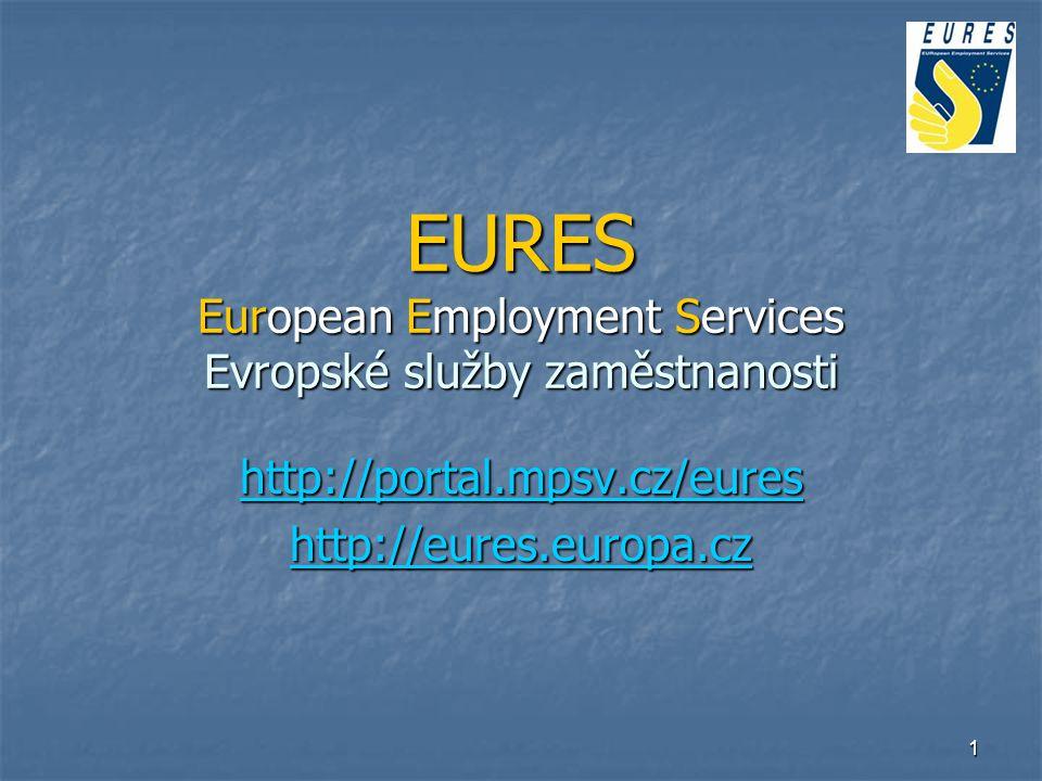 2 Co je EURES Bezplatná informační a poradenská služba v oblasti zaměstnanosti v zemích EU/EHP a Švýcarsku Bezplatná informační a poradenská služba v oblasti zaměstnanosti v zemích EU/EHP a Švýcarsku Síť 750 EURES poradců (úřady práce, firmy, odbory), koordinuje EK, v ČR 15 EURES poradců na krajských úřadech práce Síť 750 EURES poradců (úřady práce, firmy, odbory), koordinuje EK, v ČR 15 EURES poradců na krajských úřadech práce Volná pracovní místa, životní a pracovní podmínky v zemích EU/EHP a Švýcarsku Volná pracovní místa, životní a pracovní podmínky v zemích EU/EHP a Švýcarsku