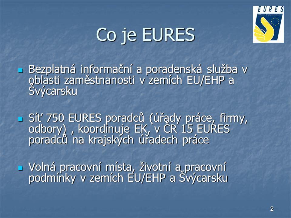 3 Klienti EURES Zájemci o práci: - databáze volných pracovních míst - život a práce v EU/EHP a Švýcarsku - vložení CV on-line do evropské databáze Zájemci o práci: - databáze volných pracovních míst - život a práce v EU/EHP a Švýcarsku - vložení CV on-line do evropské databáze Zaměstnavatelé: - šíření volných pracovních míst v EU (internet prostřednictvím ÚP, samoobslužně nebo prostřednictvím národních webů sítě EURES - vstup do evropské databáze CV - spolupráce při náborech pracovníků z EU - info o životních a pracovních podmínkách Zaměstnavatelé: - šíření volných pracovních míst v EU (internet prostřednictvím ÚP, samoobslužně nebo prostřednictvím národních webů sítě EURES - vstup do evropské databáze CV - spolupráce při náborech pracovníků z EU - info o životních a pracovních podmínkách