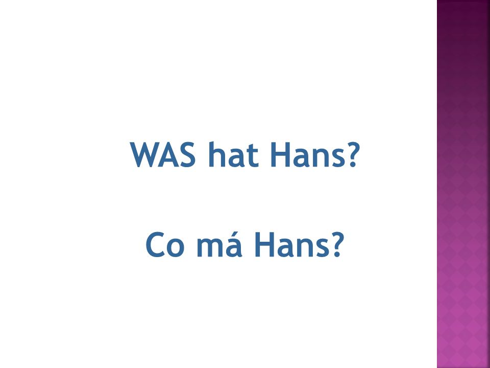 11.Hans ha WAS hat Hans Co má Hans
