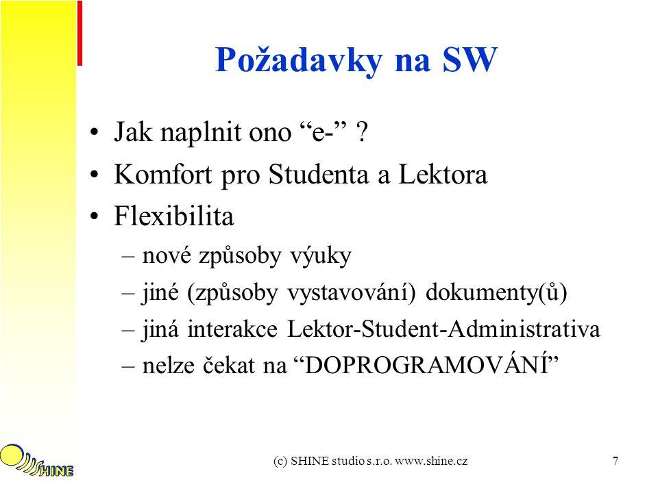 (c) SHINE studio s.r.o. www.shine.cz7 Požadavky na SW Jak naplnit ono e- .