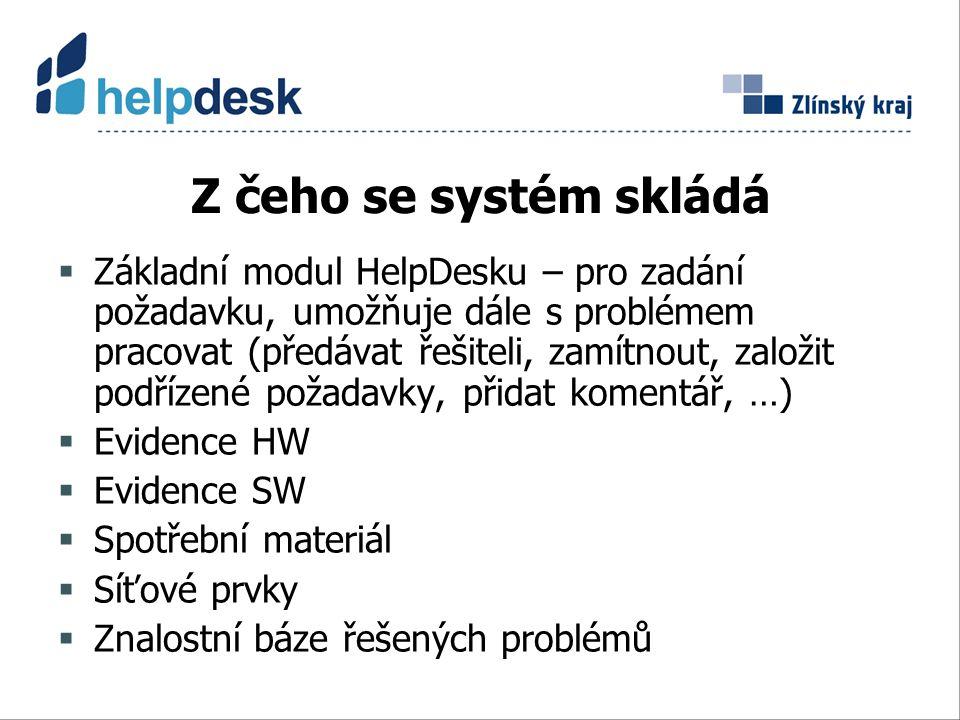 Z čeho se systém skládá  Základní modul HelpDesku – pro zadání požadavku, umožňuje dále s problémem pracovat (předávat řešiteli, zamítnout, založit podřízené požadavky, přidat komentář, …)  Evidence HW  Evidence SW  Spotřební materiál  Síťové prvky  Znalostní báze řešených problémů