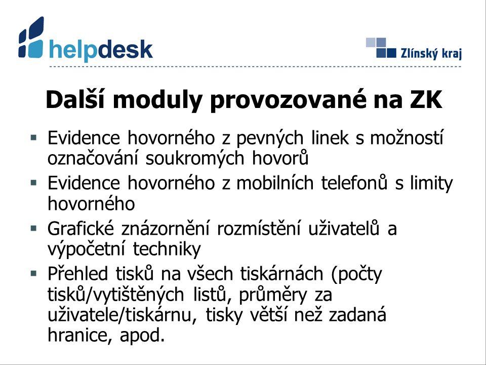 Další moduly provozované na ZK  Evidence hovorného z pevných linek s možností označování soukromých hovorů  Evidence hovorného z mobilních telefonů s limity hovorného  Grafické znázornění rozmístění uživatelů a výpočetní techniky  Přehled tisků na všech tiskárnách (počty tisků/vytištěných listů, průměry za uživatele/tiskárnu, tisky větší než zadaná hranice, apod.