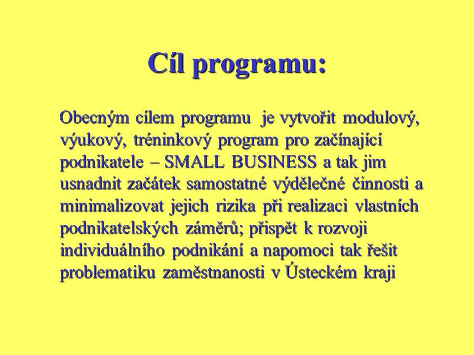 Cíl programu: Obecným cílem programu je vytvořit modulový, výukový, tréninkový program pro začínající podnikatele – SMALL BUSINESS a tak jim usnadnit začátek samostatné výdělečné činnosti a minimalizovat jejich rizika při realizaci vlastních podnikatelských záměrů; přispět k rozvoji individuálního podnikání a napomoci tak řešit problematiku zaměstnanosti v Ústeckém kraji