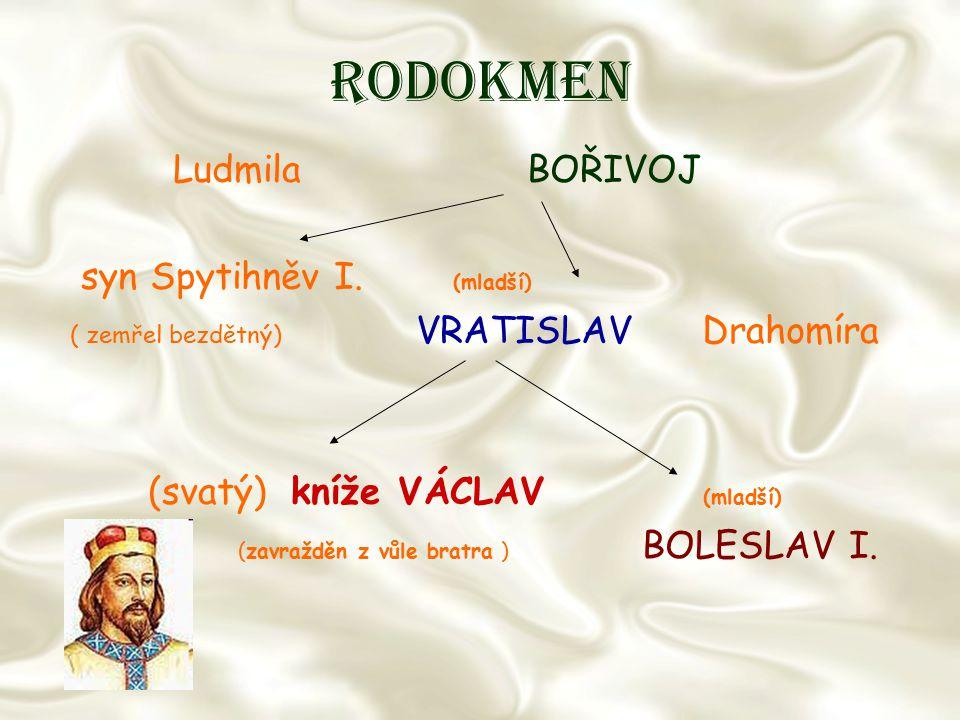 Rodokmen Ludmila BOŘIVOJ syn Spytihněv I. (mladší) ( zemřel bezdětný) VRATISLAV Drahomíra (svatý) kníže VÁCLAV (mladší) (zavražděn z vůle bratra ) BOL