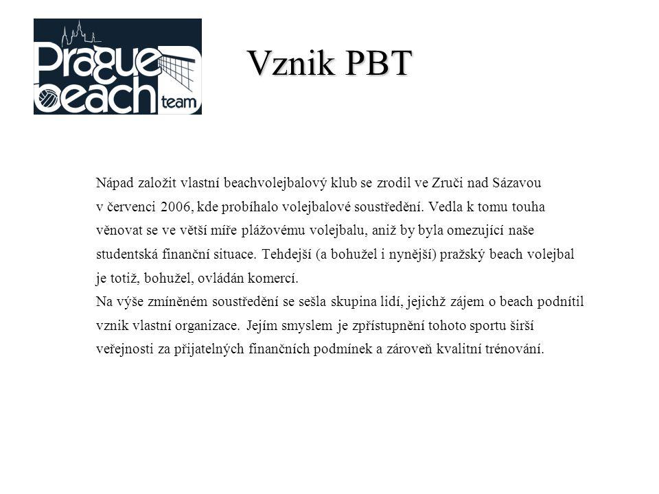 Vznik PBT Nápad založit vlastní beachvolejbalový klub se zrodil ve Zruči nad Sázavou v červenci 2006, kde probíhalo volejbalové soustředění.