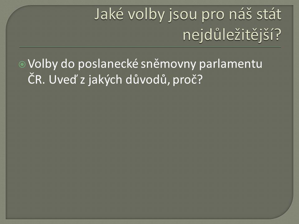  Volby do poslanecké sněmovny parlamentu ČR. Uveď z jakých důvodů, proč?