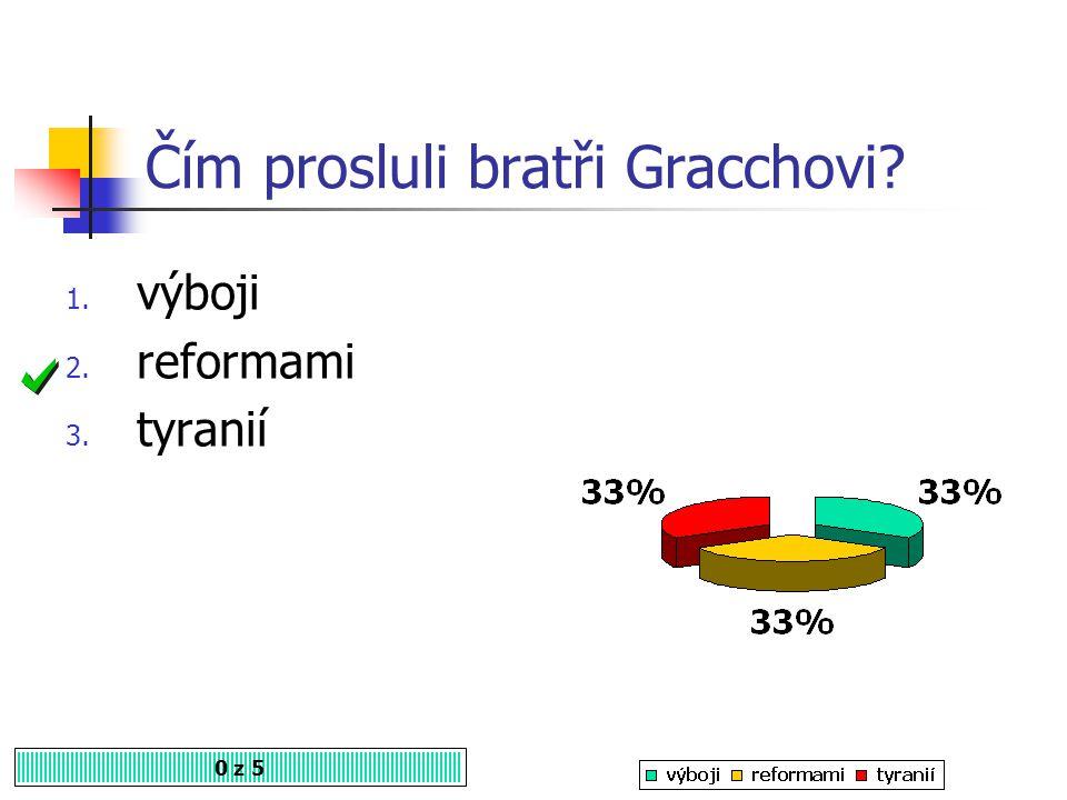 Čím prosluli bratři Gracchovi? 0 z 5 1. výboji 2. reformami 3. tyranií