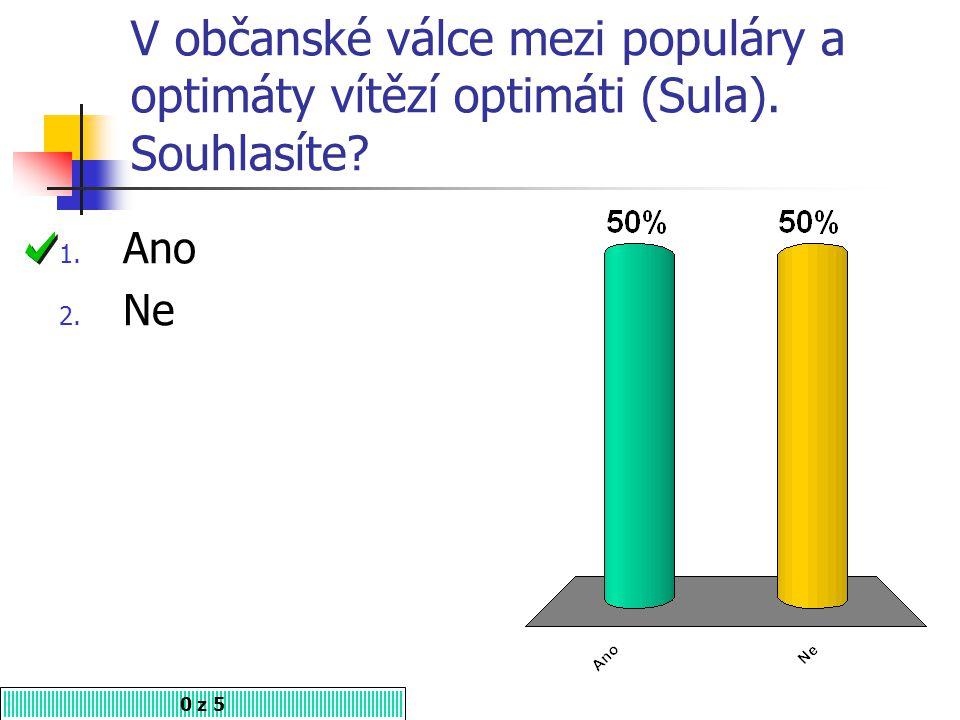 V občanské válce mezi populáry a optimáty vítězí optimáti (Sula). Souhlasíte? 1. Ano 2. Ne 0 z 5