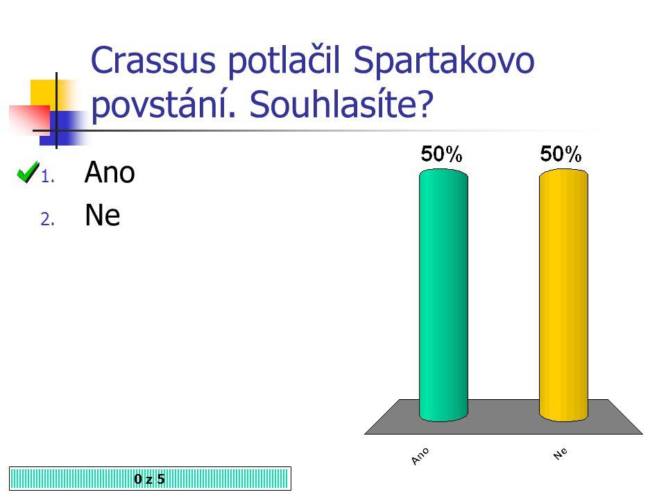 Crassus potlačil Spartakovo povstání. Souhlasíte? 1. Ano 2. Ne 0 z 5