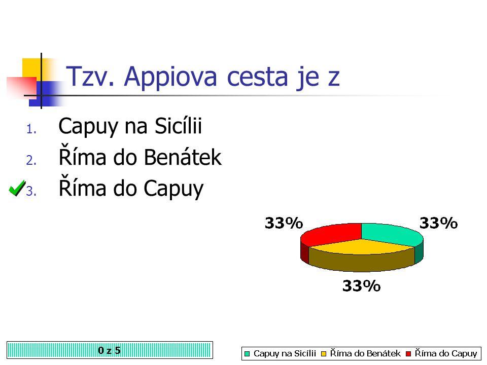 Tzv. Appiova cesta je z 0 z 5 1. Capuy na Sicílii 2. Říma do Benátek 3. Říma do Capuy